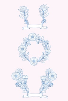 Ornamenti decorativi natura blu fiore