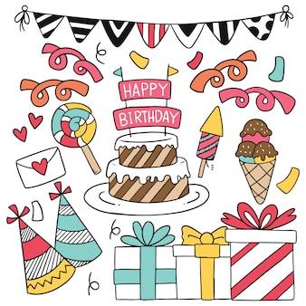 Ornamenti di buon compleanno doodle festa disegnata a mano.