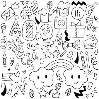 Ornamenti di buon compleanno festa doodle disegnato a mano