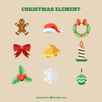 Ornamenti di natale con design piatto