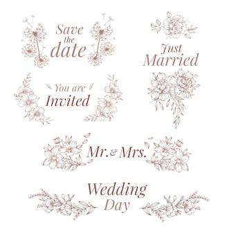 Ornamenti di nozze stile disegnato a mano