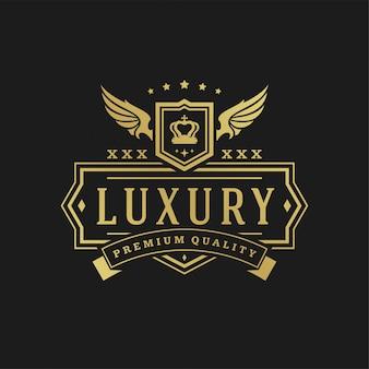 Ornamenti di scenografie di vittoriano dell'illustrazione di vettore del modello di progettazione di logo di lusso.