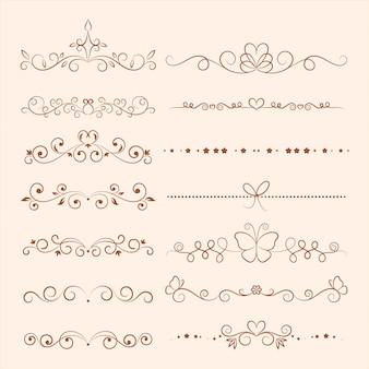Ornamenti di vettore disegnato a mano per invito