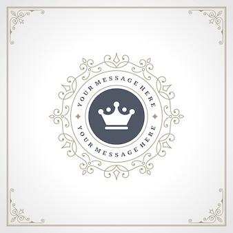 Ornamenti eleganti di flourishes di vettore del modello della corona di logo d'annata