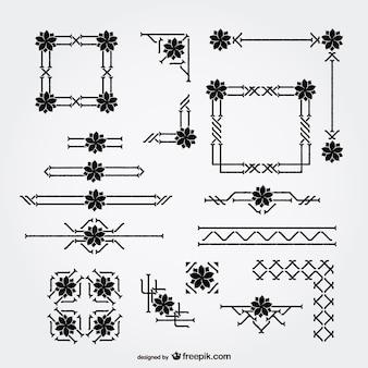 Ornamenti floreali bordi e angoli definiti