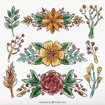 Ornamenti floreali in stile acquerello