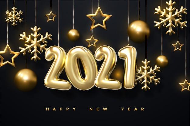 Ornamenti scintillanti di scintillio di natale isolati su priorità bassa nera. bolle dorate e nere. felice anno nuovo 2021. illustrazione di festa dei numeri metallici dorati 2021.