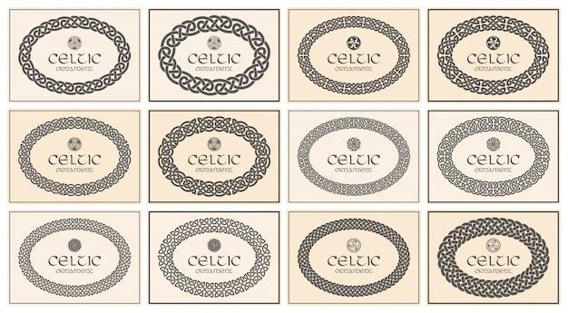 Ornamento a cornice ovale intrecciata con nodo celtico. formato a4.