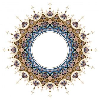 Ornamento arabo classico rotondo cerchio floreale marocchino