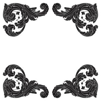 Ornamento barocco classico. elemento decorativo di design in filigrana.