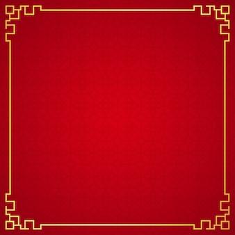Ornamento cinese orientale del confine su fondo rosso