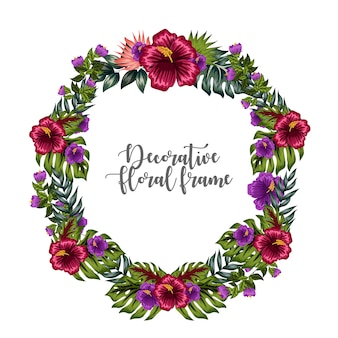 Ornamento decorativo colorato cornice floreale