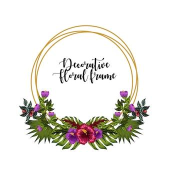 Ornamento decorativo cornice floreale