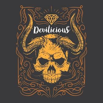 Ornamento del cranio del diavolo