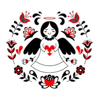 Ornamento di arte popolare scandinava.