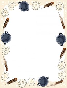 Ornamento di candele, piume e calderoni in stile fumetto doodles modello cartolina vista dall'alto. banner di formato lettera con posto per il vostro testo. accogliente boho stazionario