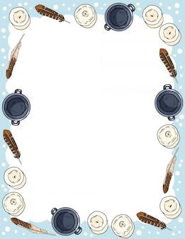Ornamento di candele, piume e calderoni in stile fumetto scarabocchi modello di lettera verticale vista dall'alto.
