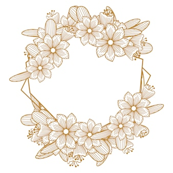 Ornamento di cornice fiore linea dorata lusso fiorista
