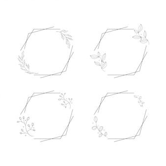 Ornamento di lusso cornice floreale floreale set line art
