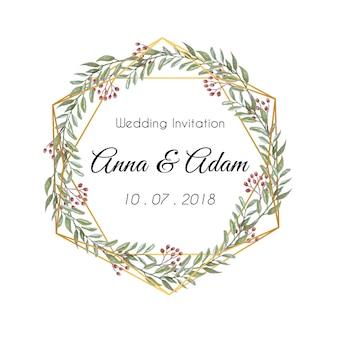 Ornamento di nozze floreali invito foglia rotonda