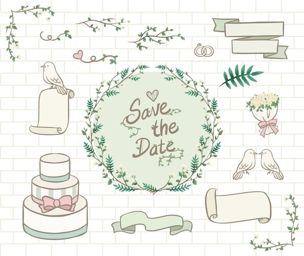 Ornamento di nozze verde pastello disegnato a mano