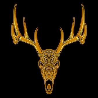 Ornamento di teschio di cervo dorato