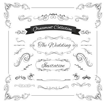 Ornamento di turbinio di nozze calligrafico per layout di cornice invito a nozze vintage