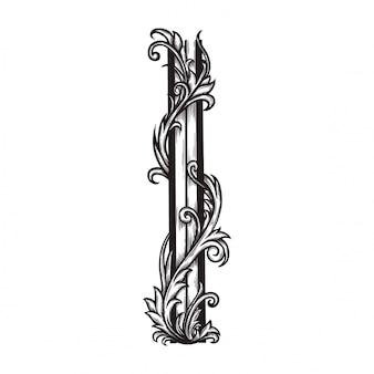 Ornamento floreale barocco per bordo cornice e angolo.