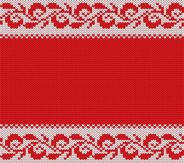 Ornamento floreale di natale a maglia. maglia invernale senza soluzione di sfondo. maglione di natale trama design.