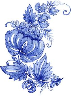 Ornamento floreale dipinto a mano dell'acquerello