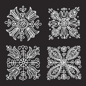 Ornamento folk floreale rettangolare