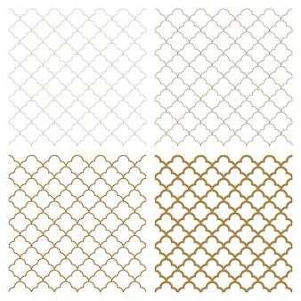 Ornamento geometrico arabo senza cuciture nel colore marrone. quattro opzioni di spessore.