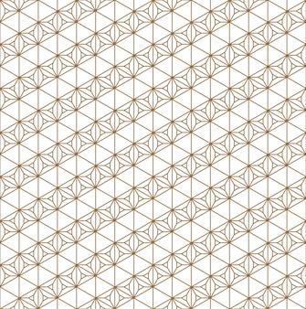 Ornamento geometrico giapponese tradizionale senza cuciture. linee di colore dorate.