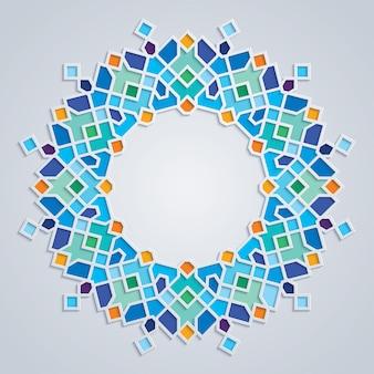 Ornamento geometrico islamico mosaico colorato modello rotondo