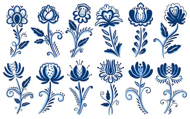 Ornamento gzhel motivo popolare.
