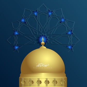 Ornamento islamico del ramadan kareem con la moschea