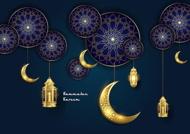 Ornamento islamico di ramadan kareem con luna e lanterna