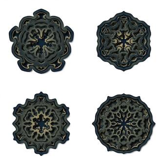 Ornamento mandala sfondo, taglio laser decorazione