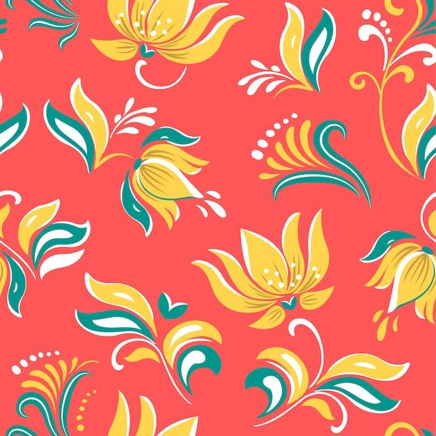Ornamento popolare russo floreale bello dei fiori luminosi.