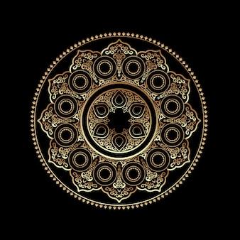 Ornamento rotondo dorato 3d - stile arabo, islamico, orientale