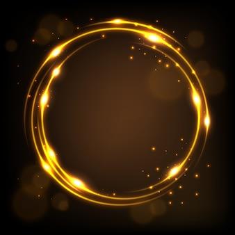Oro brillante rotondo a sfondo trasparente