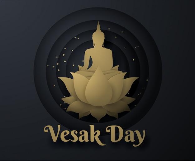 Oro buddha su loto felice giorno di vesak sfondo