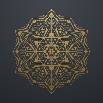 Oro di lusso astratto geometrico mandala art pattern. su sfondo nero. illustrazione vettoriale