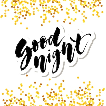 Oro di tipografia di frase di testo di vettore di calligrafia dell'iscrizione di buona notte