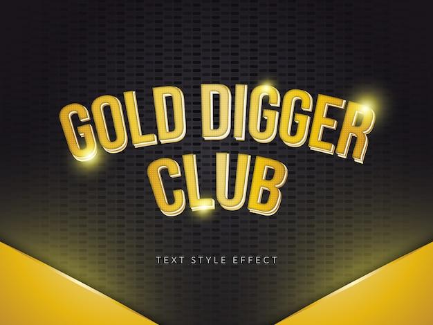 Oro digger text style effect con sfumatura dorata