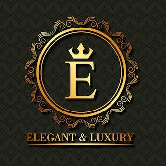 Oro elegante e lussuoso monogramma cornice rotonda floreale