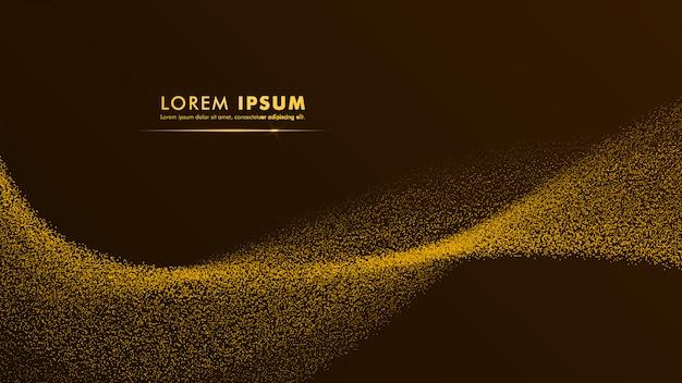 Oro giallo dorato astratto di progettazione del fondo di vettore dell'oro della particella