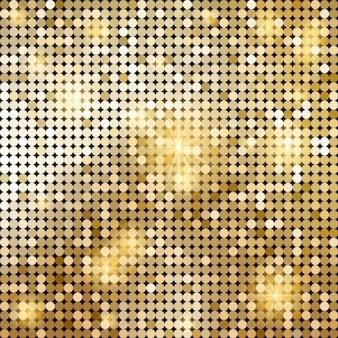 Oro lucido vettoriale mosaico in stile palla da discoteca