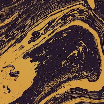 Oro metallo colore pittura ad acqua suminagashi decorazione astratta disegnata a mano sfondo scuro