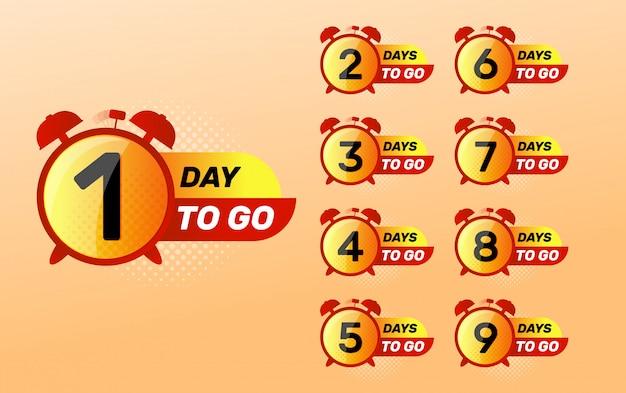 Orologio con numero di giorni a sinistra segno. giorno di andare.